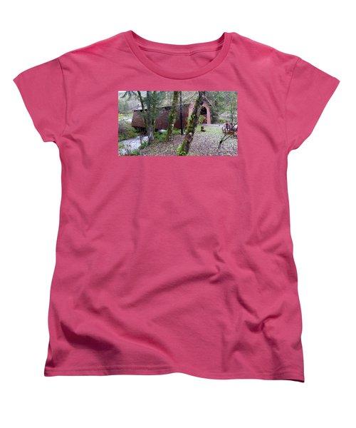 Red Covered Bridge  Women's T-Shirt (Standard Cut) by Susan Garren