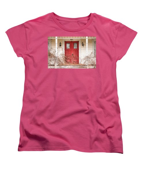 Red Doors - Charming Old Doors On The Abandoned House Women's T-Shirt (Standard Cut) by Gary Heller