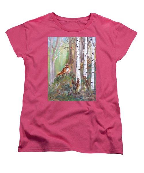 Red Fox And Cardinals Women's T-Shirt (Standard Cut) by Robin Maria Pedrero