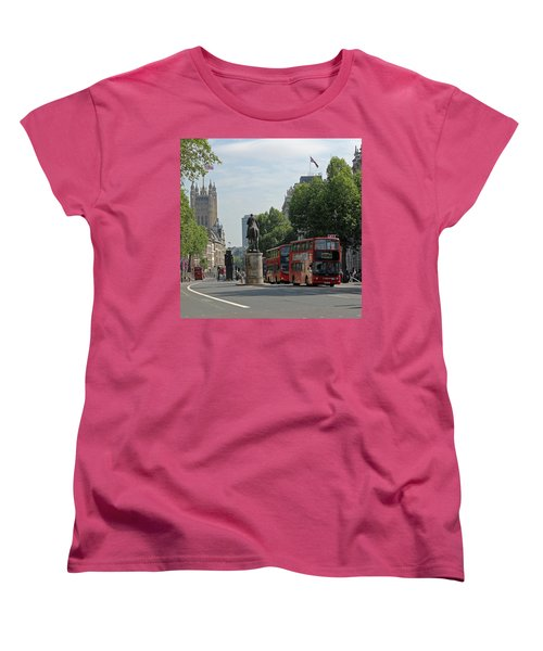 Red London Bus In Whitehall Women's T-Shirt (Standard Cut) by Tony Murtagh