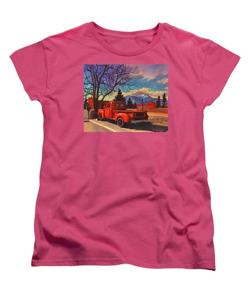 Women's T-Shirt (Standard Cut) featuring the painting Red Truck by Art James West