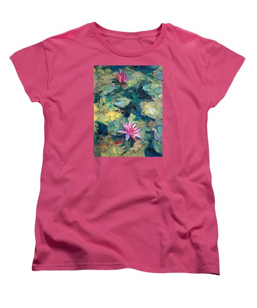 Women's T-Shirt (Standard Cut) featuring the painting Red Waterlily  by Jieming Wang
