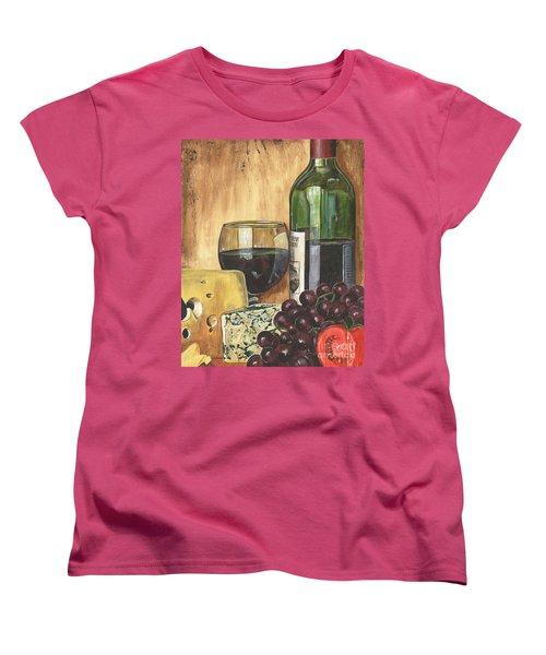 Red Wine And Cheese Women's T-Shirt (Standard Cut) by Debbie DeWitt