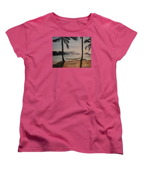 Women's T-Shirt (Standard Cut) featuring the painting Relaxing At The Beach by Ian Donley