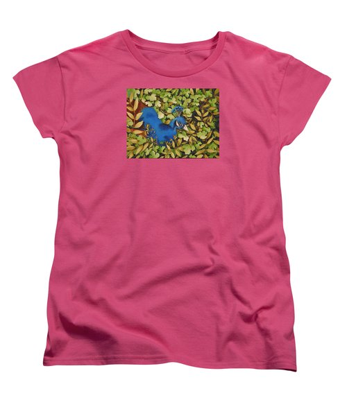 Resting Peacock Women's T-Shirt (Standard Cut) by Katherine Young-Beck