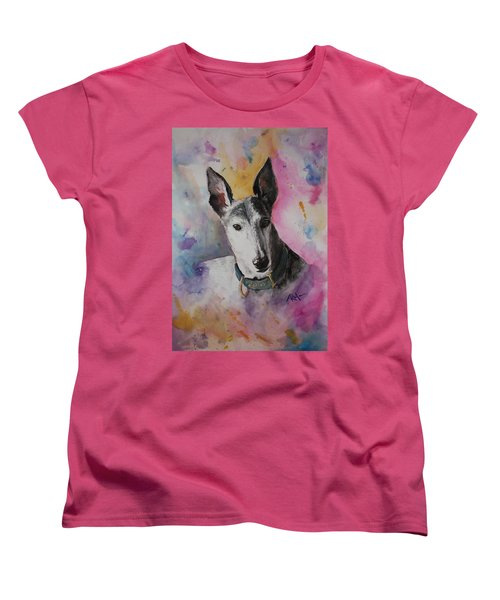 Women's T-Shirt (Standard Cut) featuring the painting Riding The Rainbow by Rachel Hames