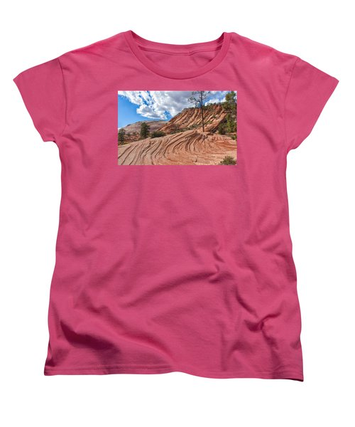 Women's T-Shirt (Standard Cut) featuring the photograph Rippled Rock At Zion National Park by John M Bailey