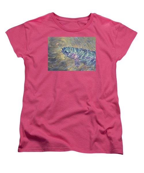 Women's T-Shirt (Standard Cut) featuring the painting  Rainbow Rising by Rob Corsetti