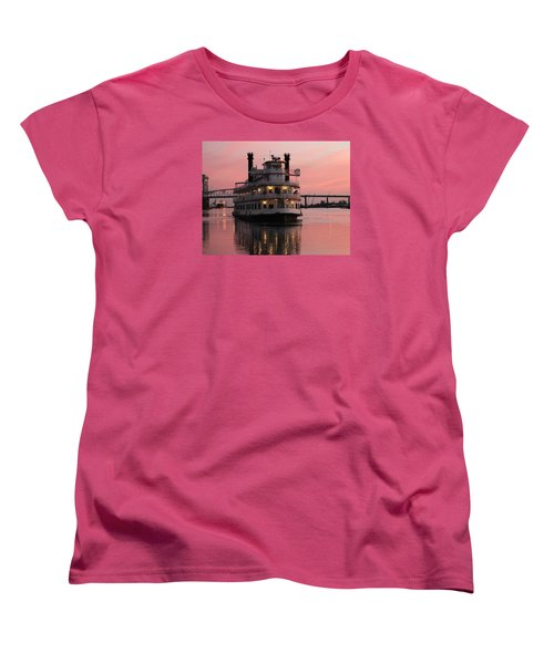 Women's T-Shirt (Standard Cut) featuring the photograph Riverboat At Sunset by Cynthia Guinn