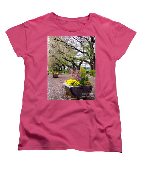 Women's T-Shirt (Standard Cut) featuring the photograph Road Of Flowers by Andrea Anderegg