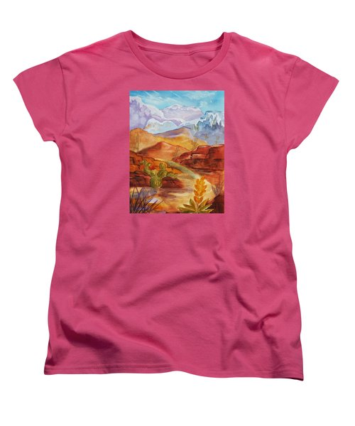 Women's T-Shirt (Standard Cut) featuring the painting Road To Nowhere by Ellen Levinson