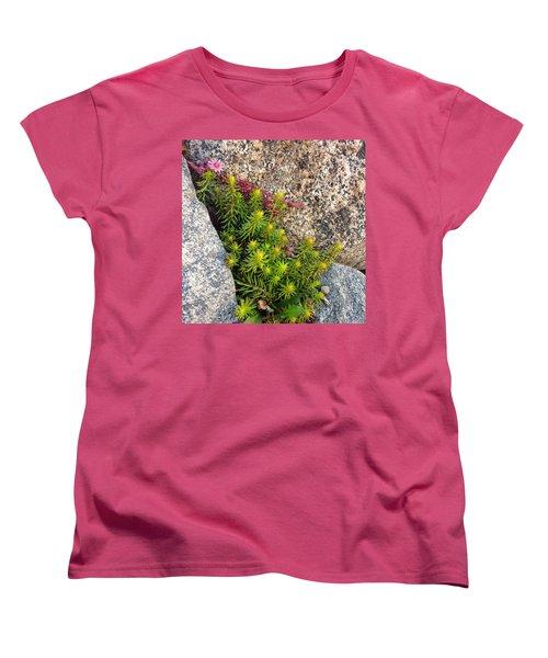 Women's T-Shirt (Standard Cut) featuring the photograph Rock Flower by Meghan at FireBonnet Art