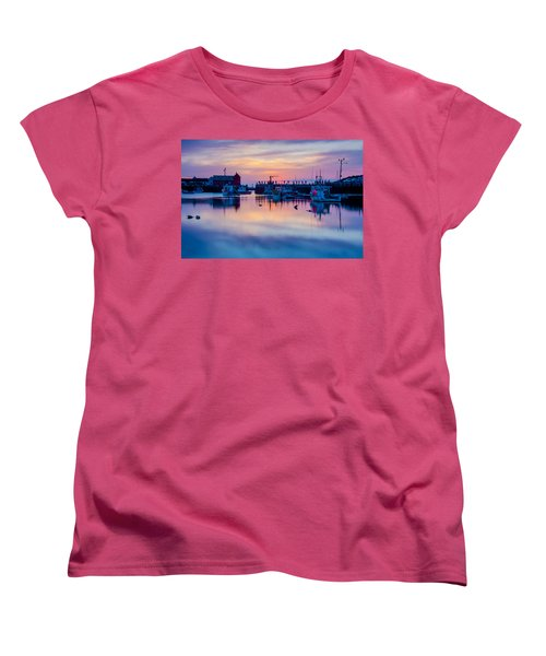 Women's T-Shirt (Standard Cut) featuring the photograph Rockport Harbor Sunrise Over Motif #1 by Jeff Folger
