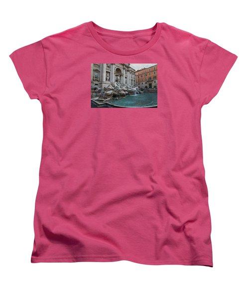 Rome's Fabulous Fountains - Trevi Fountain - No Tourists Women's T-Shirt (Standard Cut) by Georgia Mizuleva