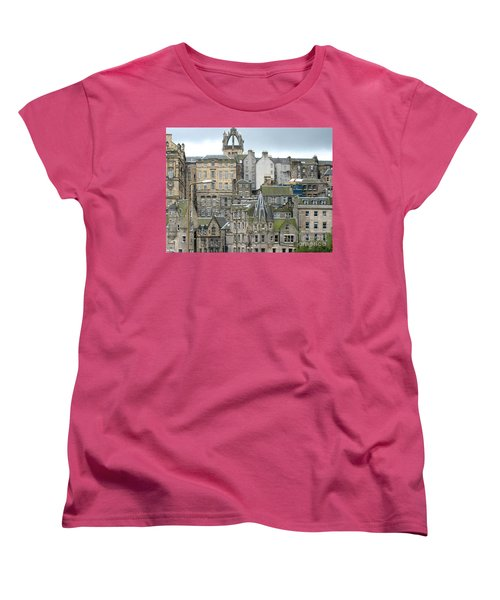 Women's T-Shirt (Standard Cut) featuring the photograph Roofs Of Edinburgh  by Suzanne Oesterling
