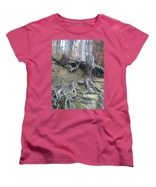 Women's T-Shirt (Standard Cut) featuring the painting Roots by Felicia Tica