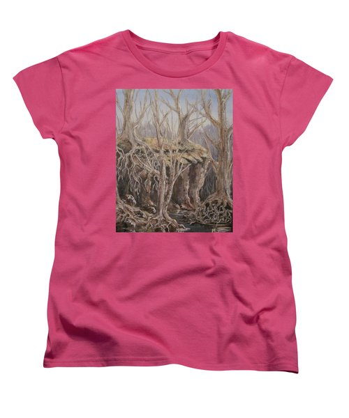Women's T-Shirt (Standard Cut) featuring the painting Roots by Megan Walsh