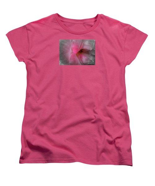 Women's T-Shirt (Standard Cut) featuring the photograph Rose Voluptuous by Jean OKeeffe Macro Abundance Art