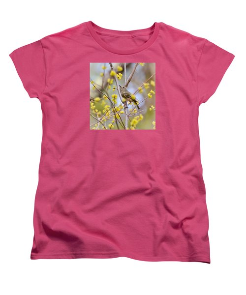 Women's T-Shirt (Standard Cut) featuring the photograph Ruby-crowned Kinglet by Kerri Farley