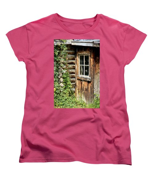 Rustic Cabin Window Women's T-Shirt (Standard Cut) by Athena Mckinzie