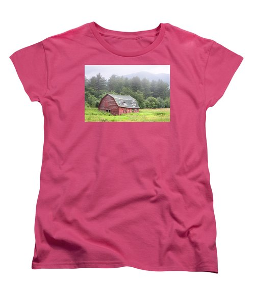 Rustic Landscape - Red Barn - Old Barn And Mountains Women's T-Shirt (Standard Cut) by Gary Heller