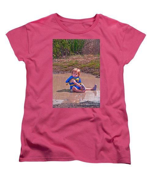 Women's T-Shirt (Standard Cut) featuring the photograph Safety Is Important - Toddler In Mudpuddle Art Prints by Valerie Garner