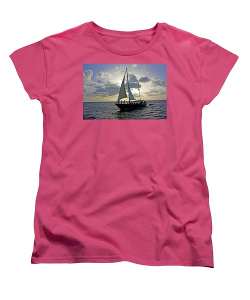 Sailing In Aruba Women's T-Shirt (Standard Cut) by Suzanne Stout