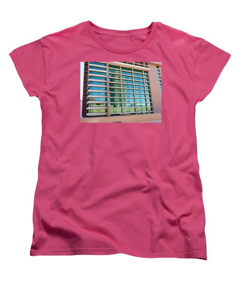 Women's T-Shirt (Standard Cut) featuring the photograph Salt Lake City Architecture Reflection by Ely Arsha