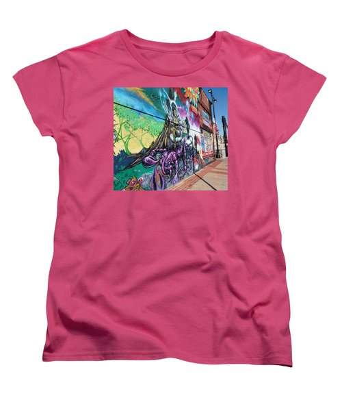 Women's T-Shirt (Standard Cut) featuring the photograph Salt Lake City - Mural 3 by Ely Arsha