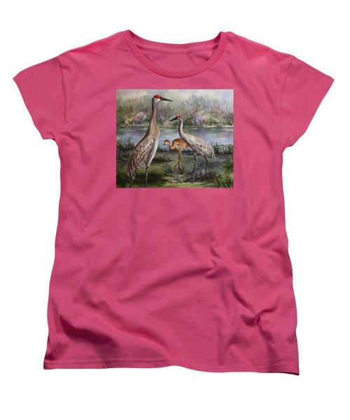 Sandhill Cranes On Alert Women's T-Shirt (Standard Cut) by Roxanne Tobaison