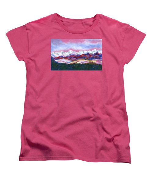Women's T-Shirt (Standard Cut) featuring the painting Sangre De Cristo Mountains by Stephen Anderson