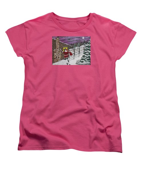 Santa Claus Is Watching Women's T-Shirt (Standard Cut) by Jeffrey Koss