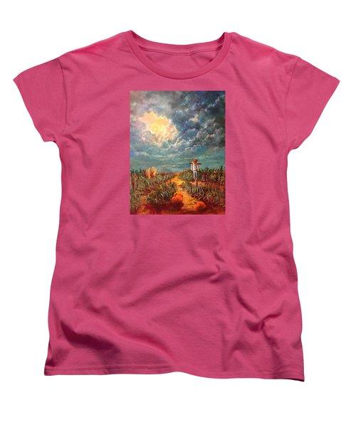 Scarecrow Moon Pumpkins And Mystery Women's T-Shirt (Standard Cut) by Randy Burns