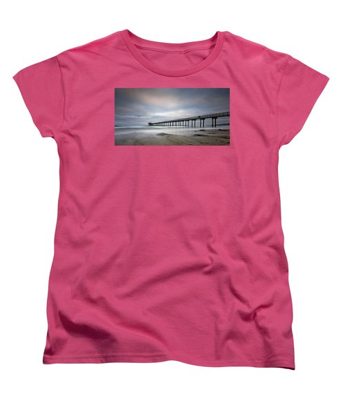 Scripps Pier Wide -lrg Print Women's T-Shirt (Standard Cut) by Peter Tellone