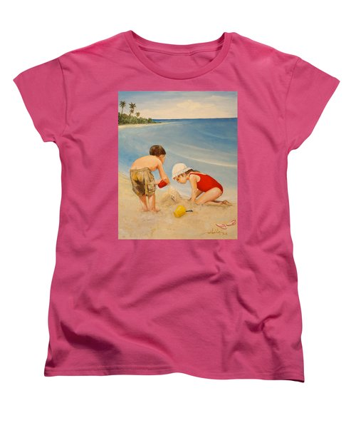 Women's T-Shirt (Standard Cut) featuring the painting Seashell Sand And A Solo Cup by Alan Lakin