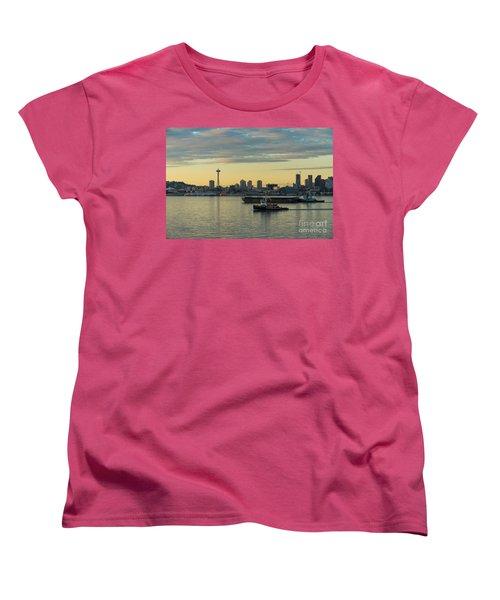 Seattles Working Harbor Women's T-Shirt (Standard Cut) by Mike Reid