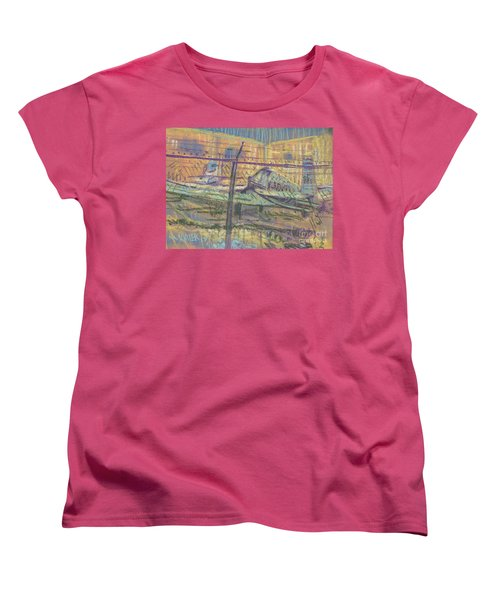 Women's T-Shirt (Standard Cut) featuring the painting Secured Planes by Donald Maier