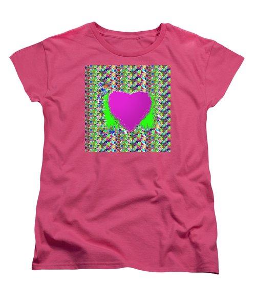 Women's T-Shirt (Standard Cut) featuring the photograph Sensual Pink Heart N Star Studded Background by Navin Joshi