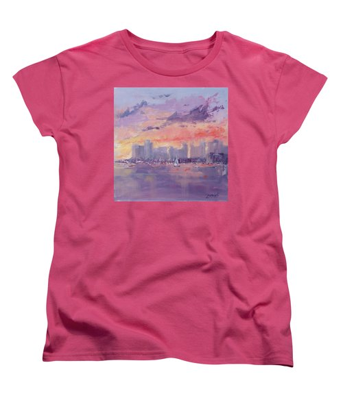 Women's T-Shirt (Standard Cut) featuring the painting Setting Sun Over Boston  by Laura Lee Zanghetti