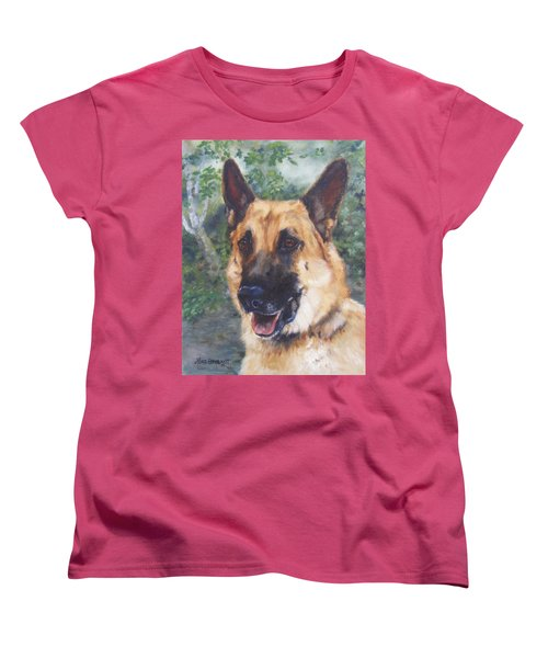 Women's T-Shirt (Standard Cut) featuring the painting Shep by Lori Brackett