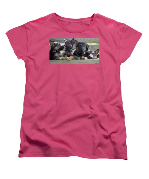 Shepherd Pups 5 Women's T-Shirt (Standard Cut) by Aimee L Maher Photography and Art Visit ALMGallerydotcom