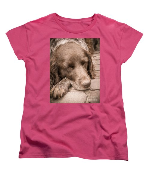 Women's T-Shirt (Standard Cut) featuring the photograph Shishka Dog Dreaming The Day Away by Peta Thames