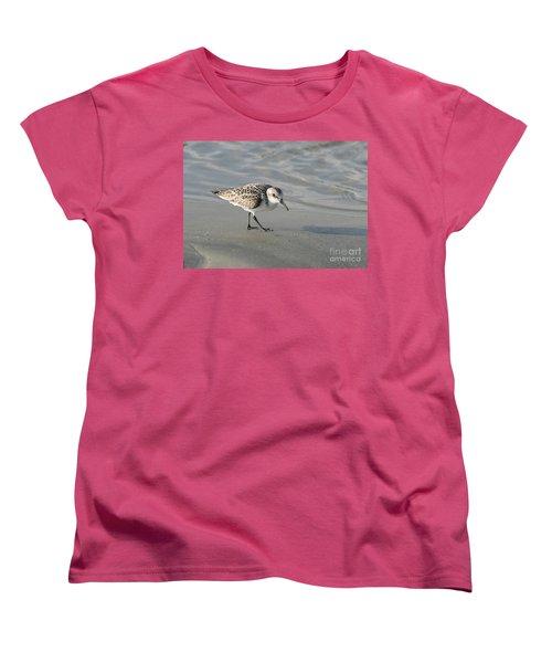 Shore Bird On Ocean Beach Women's T-Shirt (Standard Cut) by Kevin McCarthy
