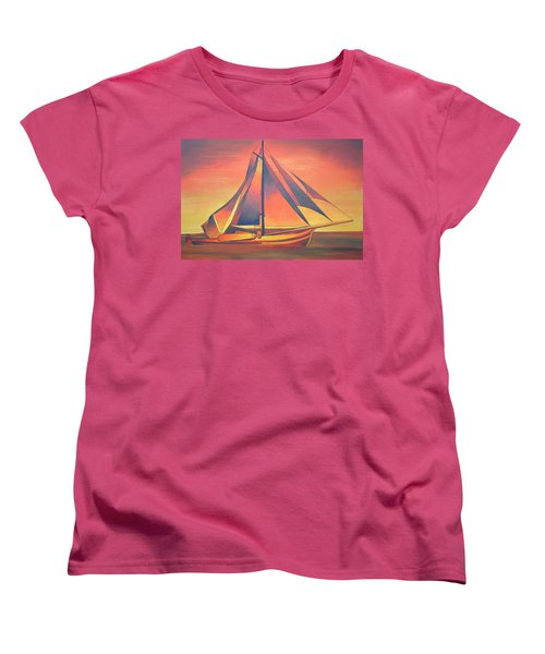 Women's T-Shirt (Standard Cut) featuring the painting Sienna Sails At Sunset by Tracey Harrington-Simpson