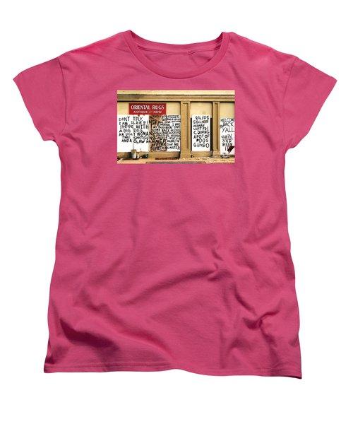 Women's T-Shirt (Standard Cut) featuring the photograph Sign Of Distress Post Hurricane Katrina Message by Michael Hoard