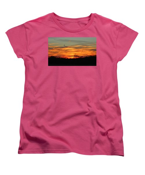Sky At Sunset Women's T-Shirt (Standard Cut) by Cynthia Guinn