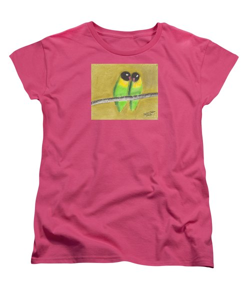 Women's T-Shirt (Standard Cut) featuring the pastel Sleeping Love Birds by David Jackson