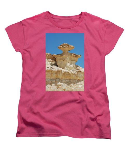Smiling Stone Man Women's T-Shirt (Standard Cut) by Linda Prewer