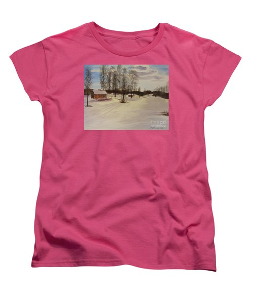 Women's T-Shirt (Standard Cut) featuring the painting Snow In Solbrinken by Martin Howard