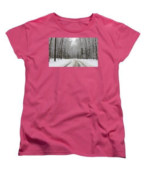 Snowy Road In Oak Openings 7058 Women's T-Shirt (Standard Cut) by Jack Schultz